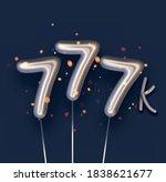 silver balloon 777k sign on... | Shutterstock .eps vector #1838621677