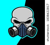 gas mask skull with shield...   Shutterstock .eps vector #1838622817