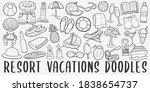 resort summer doodle icon set.... | Shutterstock .eps vector #1838654737