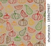 crayon pumpkins pattern.... | Shutterstock .eps vector #1838659837