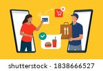 woman ordering food online and... | Shutterstock .eps vector #1838666527