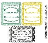 set green yellow black tea...   Shutterstock .eps vector #183866921
