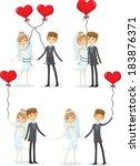 set of wedding pictures  bride... | Shutterstock .eps vector #183876371