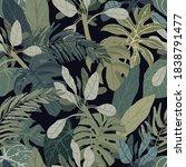 seamless hand drawn tropical...   Shutterstock .eps vector #1838791477