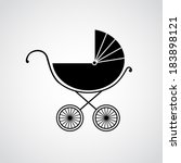 Silhouette of baby pram. Vector illustration. Beautiful background. Endless texture can be used for printing onto fabric and paper or scrap booking.
