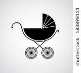 Silhouette Of Baby Pram. Vecto...