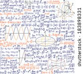 "Mathematical vector seamless pattern with formulas and figures, ""handwritten on the copybook paper"", different colors."