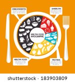 healthy food design over yellow ... | Shutterstock .eps vector #183903809