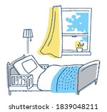 room with nursing bed with... | Shutterstock . vector #1839048211