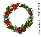 christmas vector holiday wreath ...   Shutterstock .eps vector #1839122614