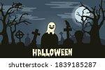 Cartoonish Ghost. Cemetery ...