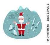santa claus in the mountains... | Shutterstock .eps vector #1839189271