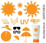 set of uv sun protection vector | Shutterstock .eps vector #183923831