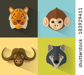 animal portrait set with flat... | Shutterstock .eps vector #183929411