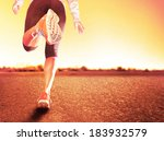 a woman with an athletic pair... | Shutterstock . vector #183932579