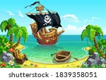 pirate sailing ship and... | Shutterstock .eps vector #1839358051