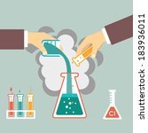 chemical experiment  hand mixed ... | Shutterstock .eps vector #183936011