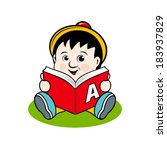 small child with a book... | Shutterstock .eps vector #183937829