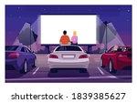 romantic movie night semi flat... | Shutterstock .eps vector #1839385627