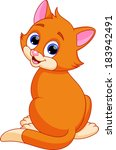 funny cat cartoon | Shutterstock . vector #183942491
