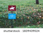 Road Sign Traffic On Horse And...