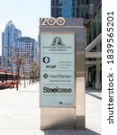 Small photo of Toronto, Canada - May 16, 2020: Ground sign outside of the entrance to the office of Templeton, MCAP, Grant Thorton and Steelcase with street view in background in downtown Toronto.