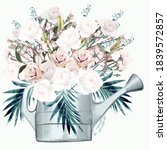 garden watering can with white...   Shutterstock .eps vector #1839572857