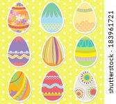 colorful pattern easter eggs on ... | Shutterstock .eps vector #183961721
