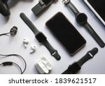 Flat Lay Shot Of Gadgets And...