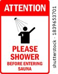 attention  please shower before ... | Shutterstock .eps vector #1839653701