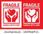 fragile heart vector symbol