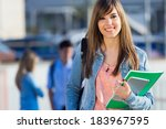 young studentgirl looking at... | Shutterstock . vector #183967595