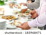 serving tasteful food  catering | Shutterstock . vector #183968471