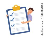 clipboard with checklist and... | Shutterstock .eps vector #1839689314