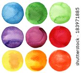 watercolor hand painted circles ... | Shutterstock . vector #183971885