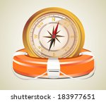 red lifebelt with compass | Shutterstock . vector #183977651