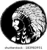 indian illustration. monochrome ... | Shutterstock .eps vector #183983951