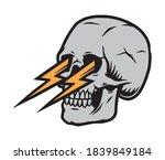 skull with lightnings from eyes ...   Shutterstock .eps vector #1839849184