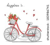 bicycle with a basket full of... | Shutterstock .eps vector #183986741