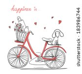 bicycle with a basket full of... | Shutterstock .eps vector #183986744