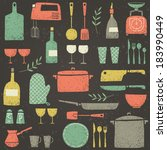 set of kitchen ware. retro... | Shutterstock .eps vector #183990449