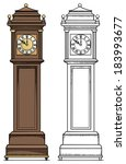 old vintage clock  colored  and ... | Shutterstock .eps vector #183993677