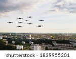 Drones Fly Over The City's...