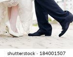 wedding shoes in a standing... | Shutterstock . vector #184001507