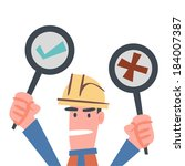 worker showing yes and no signs   Shutterstock .eps vector #184007387
