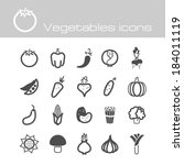 vegetables icon set | Shutterstock .eps vector #184011119