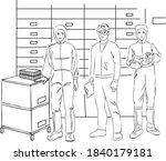 scientists in lab. scientist...   Shutterstock .eps vector #1840179181