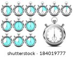 set of stopwatches showing 5 ... | Shutterstock .eps vector #184019777