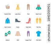 Flat Icons Set Clothes ...