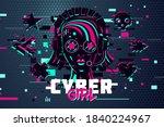 cyber punk woman. girl gamer... | Shutterstock .eps vector #1840224967